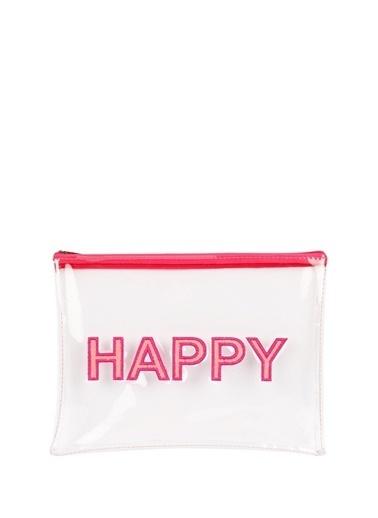 Bakras Bakras Happy Baskı Desenli Şeffaf Makyaj Çantası Renksiz